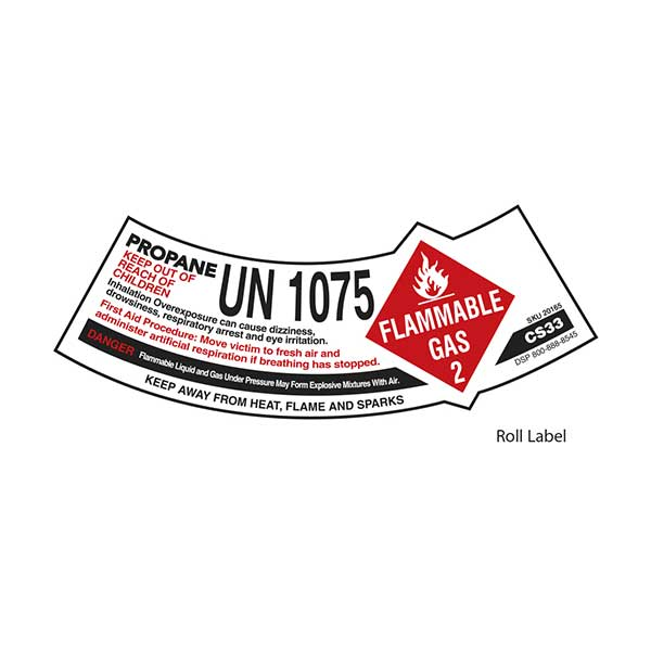 12-CS33-R DOT Cylinder label/warnings (5x1.5) on roll of 500