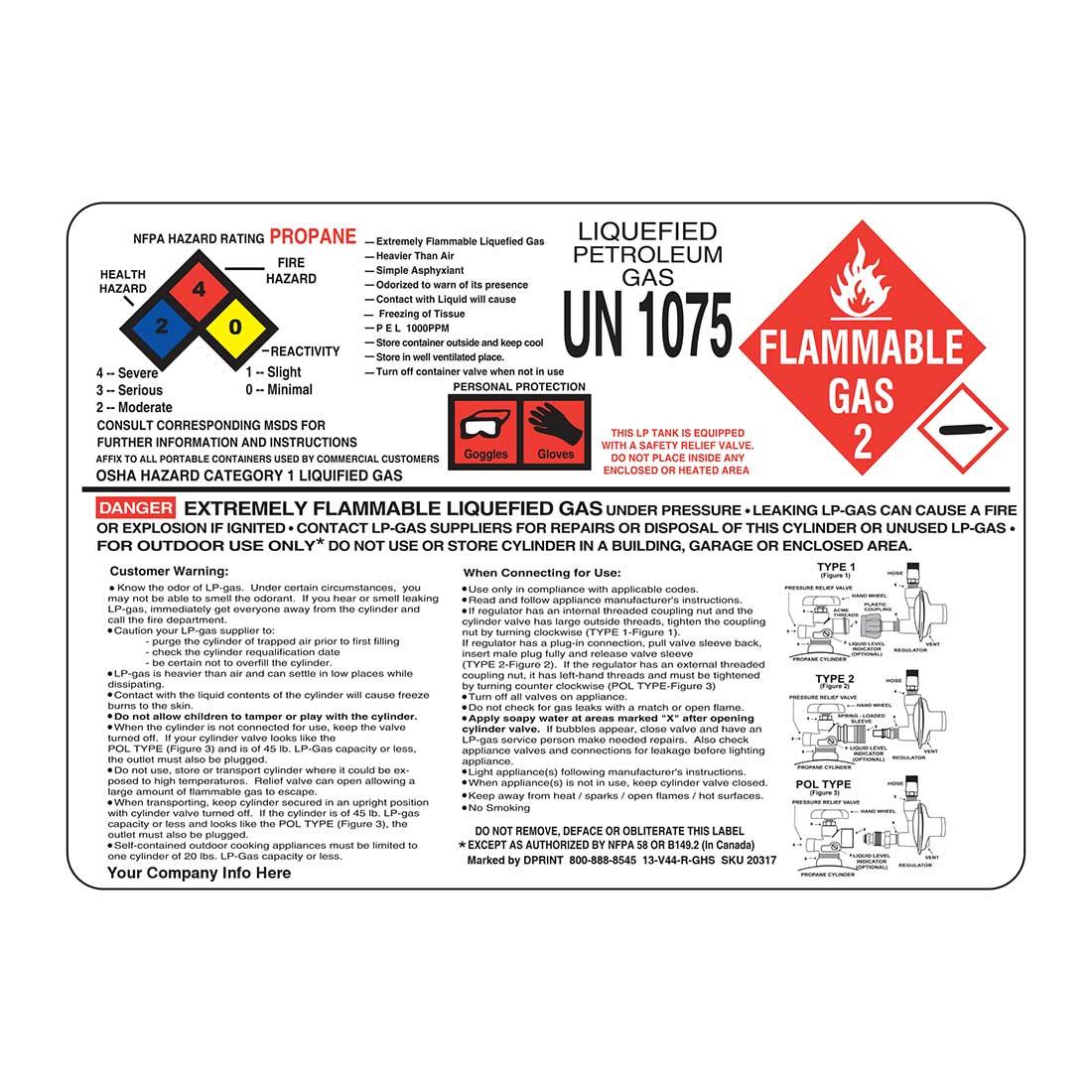 3-in-1 Propane Hazard Label