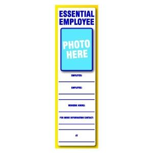Essential Employee ID Placard 3'' x 10''