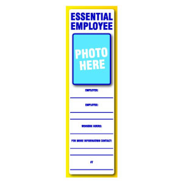 Essential Employee ID Placard 3'' x 10''