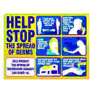 Hygiene Sign - Help Stop The Spread of Germs 8.5 x 11
