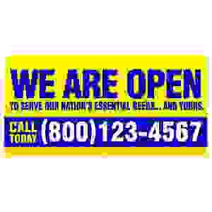 We Are Open banner 48 x 24